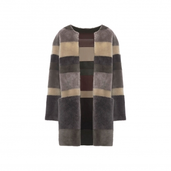 Anine Bing Striped Shearling Coat